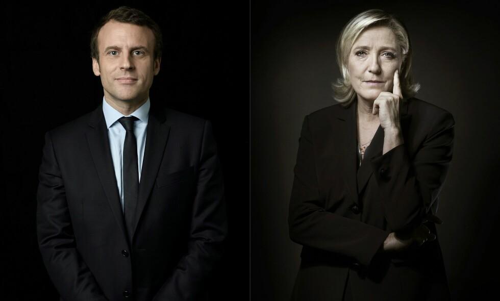 MOTPOLER: Presidentkandidat for En Marche!, Emmanuel Macron og presidentkandidat for Front National (FN), Marine Le Pen. Hvem av de to som blir Frankrikes nye president avgjøres søndag. - Tilhengerne til Macron og Le Pen er de heldige. De vet hvem de vil ha. For alle andre tapere fra første omgang, brer svimmelheten seg, skriver artikkelforfatteren. Foto: AFP PHOTO / Eric Feferberg og Joël SAGET