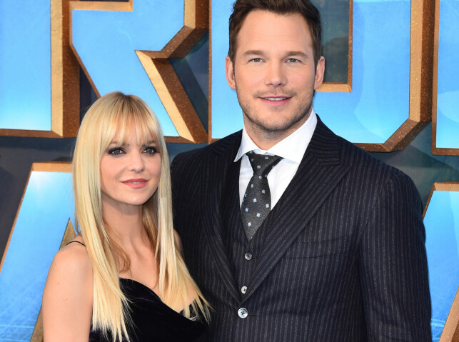 FILMSTJERNE: Chris Pratt er aktuell med actionfilmen «Guardians of the Galaxy Vol. 2». Her avbildet under premieren i London tidligere denne måneden, sammen med kona Anna Faris. Foto: Matt Crossick/ EMPICS Entertainment/ NTB scanpix