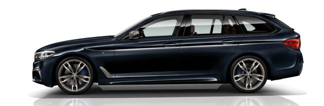 <strong>OGSÅ STASJONSVOGN:</strong> BMW M550d xDrive Touring er navnet på den mer praktiske av de to M-diesel-versjonene. Det nevnes derimot ikke noe om en stasjonsvognutgave av bensin-alternativet. Foto: BMW