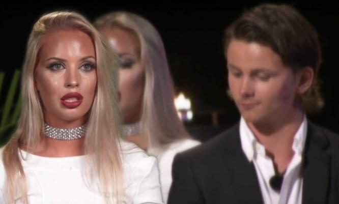 BRÅ ENDRING: Petter Sjurseth Berg valgte å stå med Isabelle Eriksen, men «Miss Paradise», Henriette Otervik, bestemte at Isabelle skulle sendes ut av konkurransen. Foto: TV 3