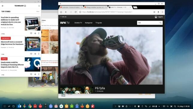 NRK: NRK fungerer direkte i nettleseren og lar seg også brukes i fullskjermmodus. Her har vi også Flipboard og Twitter-appen Fenix åpne i hvert sitt vindu. Skjermdump: Pål Joakim Pollen