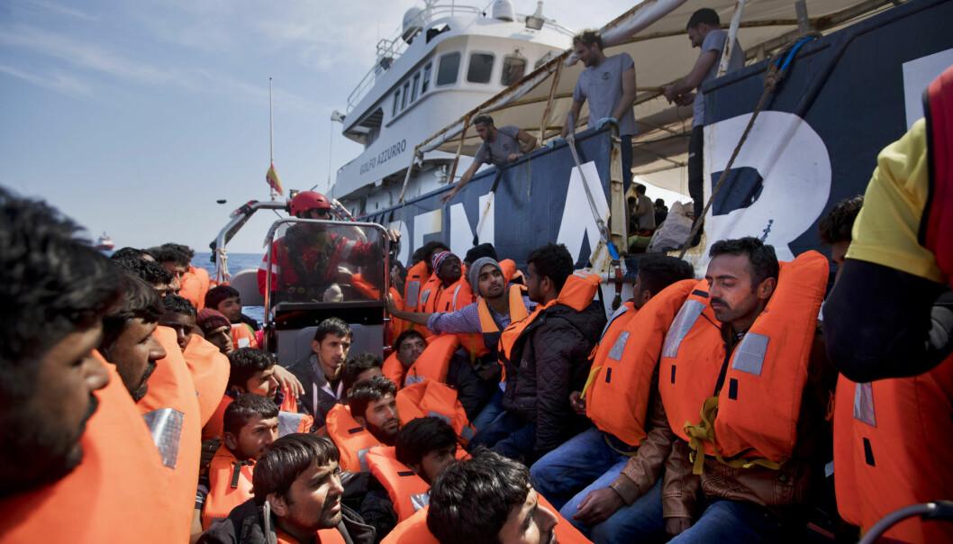 <strong>REDDET:</strong> Migranter reddet om bord i fartøyet Proactiva Open Arms, nord for Sabratha i Libya i april. Denne helga har ytterligere 6.000 blitt reddet på samme rute til Italia. Foto: Bernat Armangue / AP / NTB scanpix<div><br></div>
