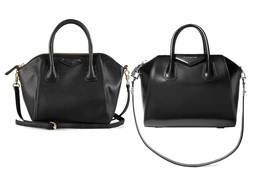Vesken til venstre er fra NLY og koster kroner 399. Vesken til høyre er fra Givenchy via Net-a-porter.com og koster kroner 17.000. Foto: Produsenten, Net-a-porter.com
