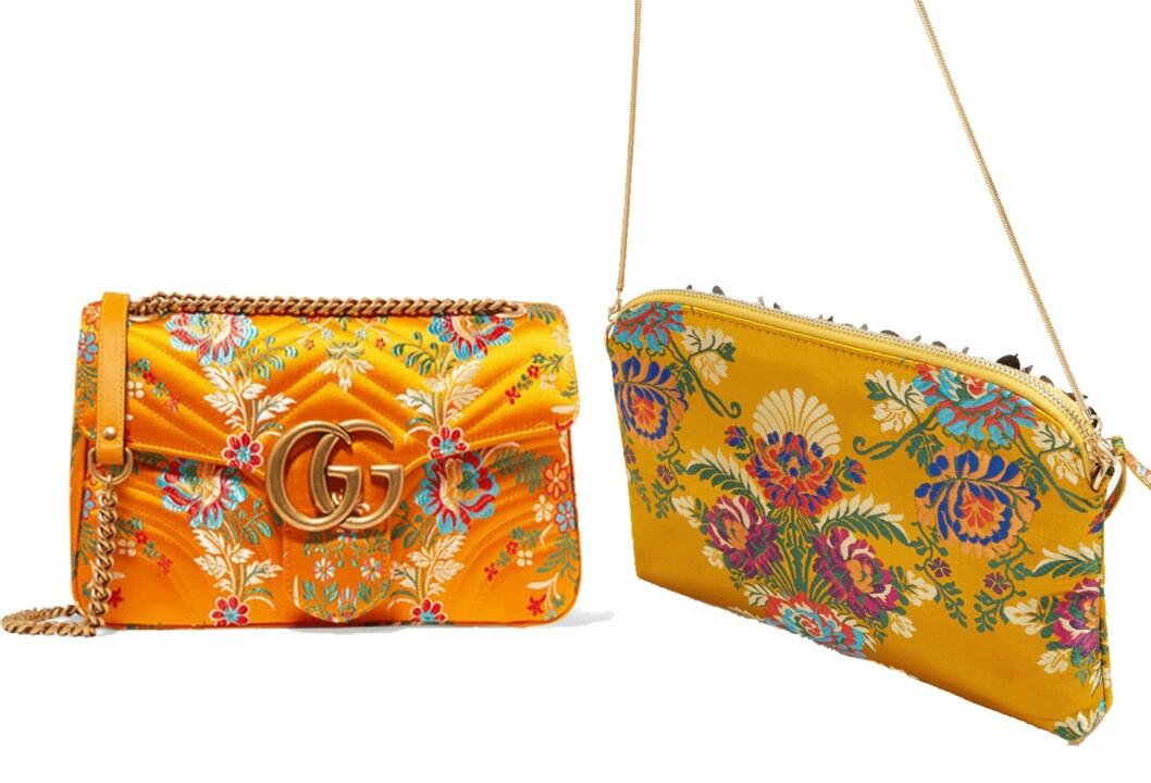 Vesken til venstre er fra Gucci via Net-a-porter.com og koster kroner 12.800. Vesken til høyre er fra Mango og koster kroner 699- Foto: Produsenten, Net-a-porter.com
