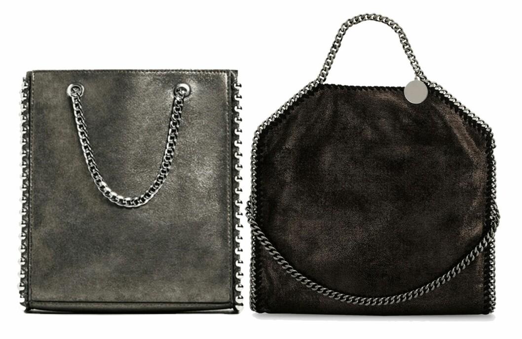 Vesken til venstre er fra Zara og koster kroner 349. Vesken til høyre er fra Stella McCartney og koster kroner 7700. Foto: Produsenten