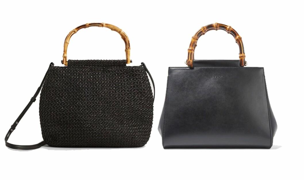 Vesken til venstre er fra Mango og koster kroner 499. Vesken til høyre er fra Gucci via Net-a-porter.com og koster kroner 14.600. Foto: Produsenten, Net-a-porter.com