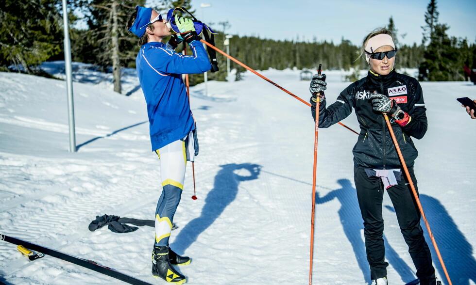 VISER STYRKE: Therese Johaug har tatt store steg på styrkebiten. Her sammen med treningspartner og lillebror Karstein Johaug. Foto: Thomas Rasmus Skaug / Dagbladet