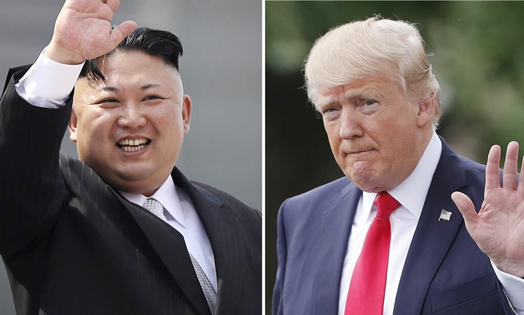 SANKSJONER: Donald Trump (t.h.) er utålmodig og har snakket med Japan og Kina om Nord-Koreas atomvåpenprogram. Forsker Stein Tønnessen tror Kina vil gå med på ytterligere sanksjoner for å dempe Trump. Til venstre er bilde av Nord-Koreas leder Kim Jong-un. Foto: AP / NTB Scanpix