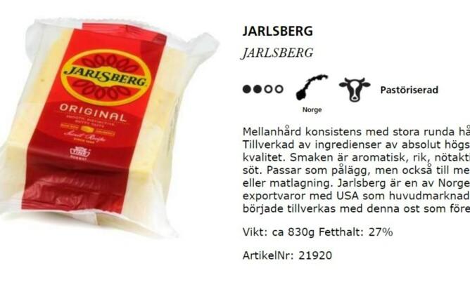 <strong>MYSTIKK:</strong> &nbsp;På Jarlsberg-osten innkjøpt i Sverige blir man henvist til wernerssonost.se for mer produktinfo. Hverken på pakningen eller nettsiden står det noe om at osten er laget i Irland.