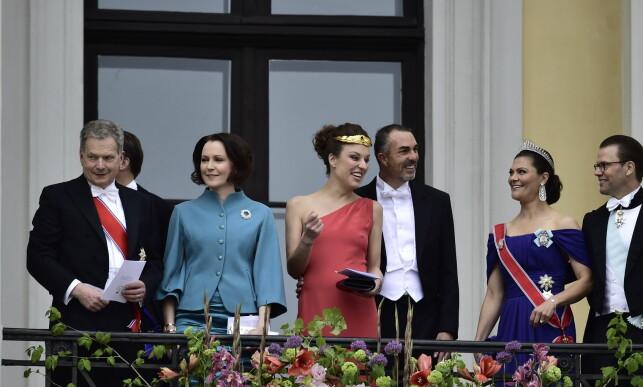 DELTOK I FEIRINGEN: Flere kongelige gjester, deriblant det svenske kronprinsparet, var til stede på slottsbalkongen i dag. Foto: Lars Eivind Bones / Dagbladet