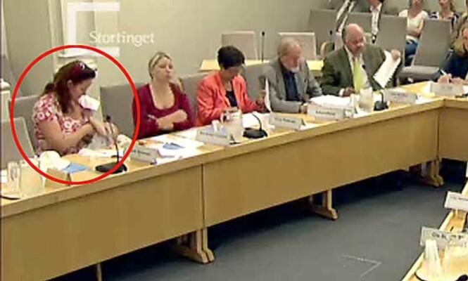 <strong>BLE KRITISERT:</strong> I 2007 fikk SV-representant Heidi Sørensen kritikk for å ha ammet sin fem måneder gamle datter under en åpen komitéhøring på Stortinget. Foto: Stortinget