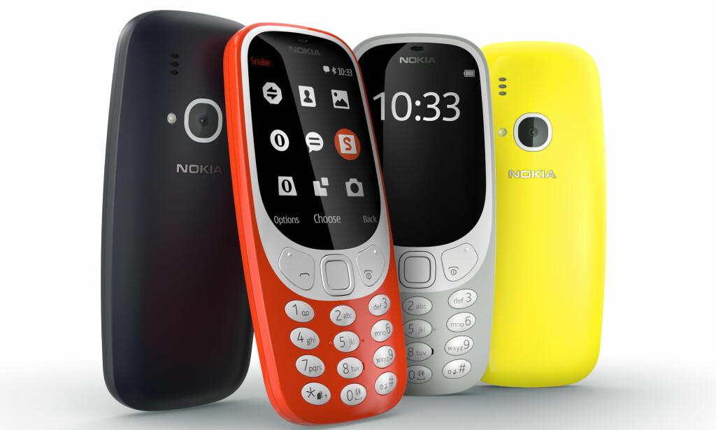 IKKE HELT LIK: Når Nokia 3310 kommer til Norge blir det lett å dra kjensel på den, selv om den ikke er helt lik originalen. Foto: Produsenten