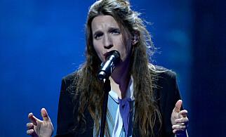 STAND IN: Luisa Sobral har skrevet vinnerlåta «Amar Pelos Dois», men har også måttet steppe inn som sanger under prøver, som her i Kiev 4. mai. Foto: Splash News / NTB Scanpix