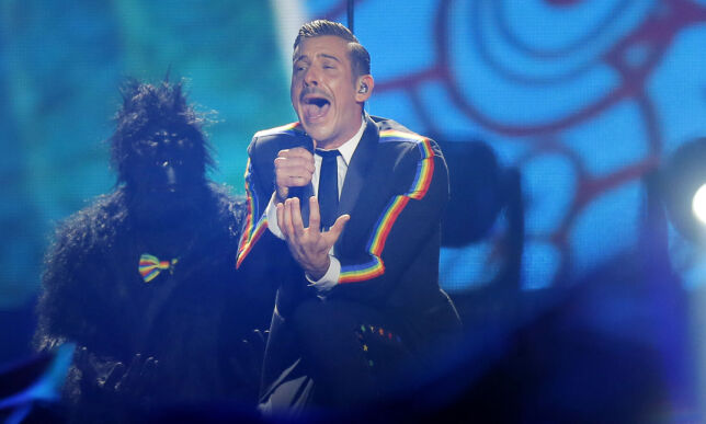 """Francesco Gabbani from Italy, right, performs the song """"""""Occidentali's Karma"""" during the Final for the Eurovision Song Contest, in Kiev, Ukraine, Saturday, May 13, 2017. (AP Photo/Efrem Lukatsky)"""