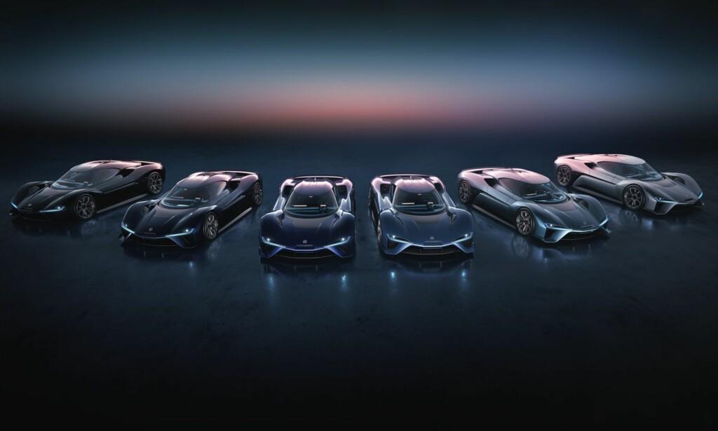 IKKE BARE EN: Seks eksemplarer av EP9 - bilen som demonstrerer hva Nio kan få til. Men ingen av dem er til salgs for publikum, de er holdt av til investorene som har gjort det mulig for NextEV å etablere seg. Foto: NextEV