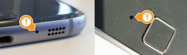 MIKROFON: Her er en Samsung-telefon med mikrofonen på underesiden, og en Motorola-telefon med mikrofonen ved siden av fingeravtrykksleseren. Finn ut hvor din der og unngå å dekke den til med håndflaten når du filmer. Foto: Pål Joakim Pollen
