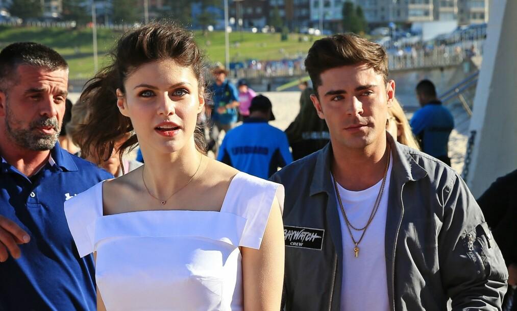 BARE VENNER: Tross hyppige romansespekulasjoner hevder Zac Efron og Alexandra Daddario at de bare er gode venner. Foto: NTB Scanpix