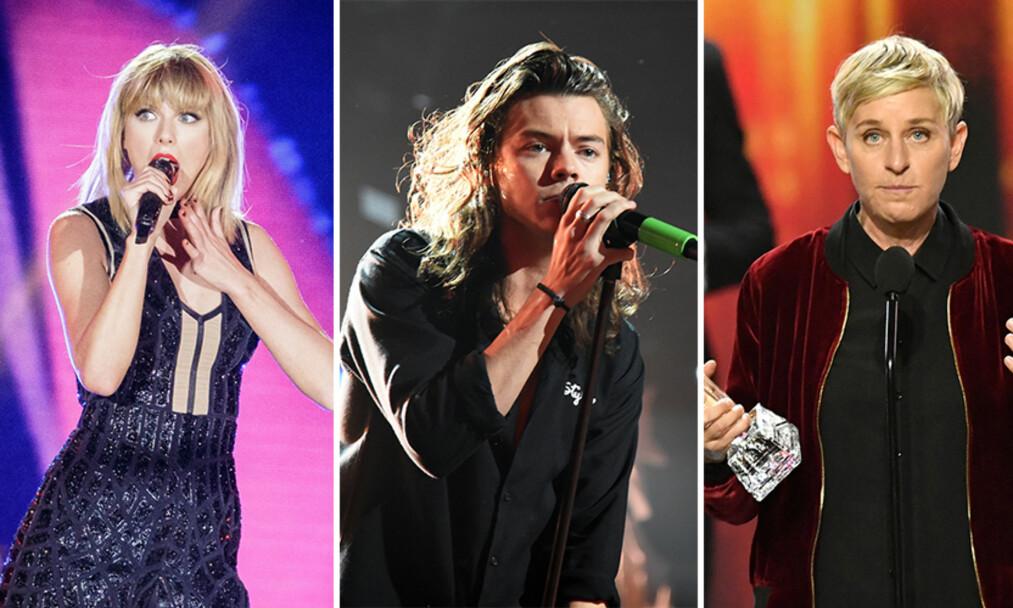 SENDER KONDOLANSER: Taylor Swift, Harry Styles og Ellen DeGeneres er bare noen av dem som viser støtte overfor Ariana Grande. Samtidig sender de sine kondolanser til de pårørende. Foto: NTB scanpix
