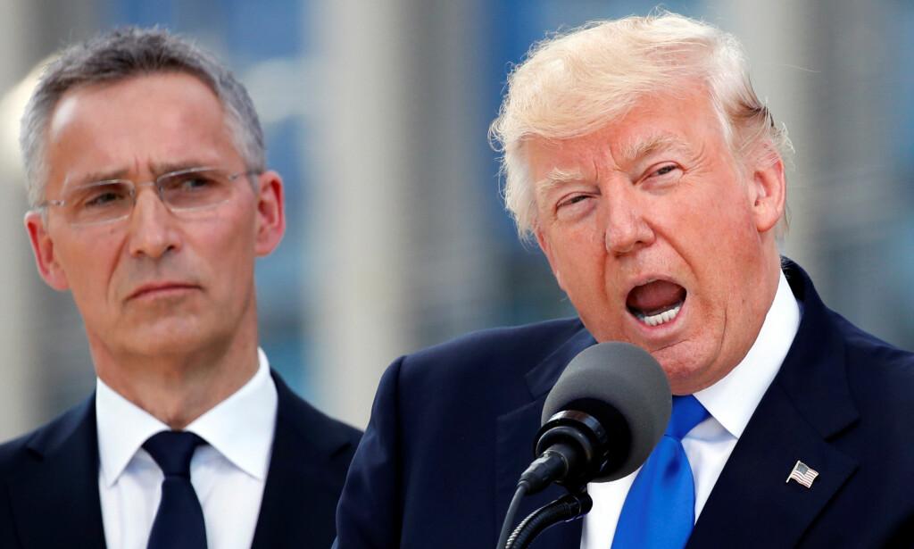OMSTRIDT: Donald Trump ga sine NATO-allierte en reprimande ingen var forberedt på, da han deputerte på NATOs minitoppmøte i fjor sommer. Nå trapper han opp retorikken igjen. Tilhører til tordentalen: NATO-sjef Jens Stoltenberg. Foto: Lars Eivind Bones