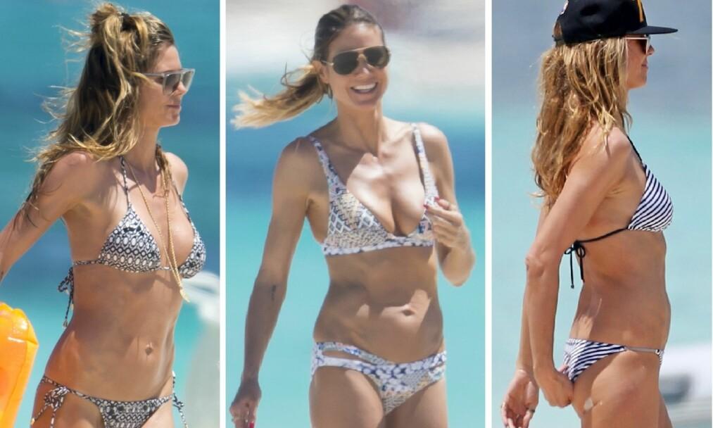BIKINIKROPP: Bildene er tatt av supermodellen i april mens hun ferierete i Turks & Caicos sammen med familien. Foto: NTB Scanpix