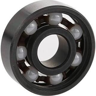 Her er en hybridvariant, med keramiske kuler og stål i resten av lageret. Siden kulene er hvite, er det brukt zirkoniumoksid. Foto: cafago.com