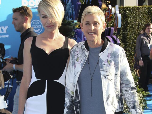 SUKSESSRIK: I tillegg til å lede et av USAs mest populære talkshow, har Ellen DeGeneres gjort suksess med animasjonsfilmene «Oppdrag Nemo» og «Oppdrag Dory», der hun har gitt stemme til fisken Dory. Her er Ellen og Portia på verdenspremiere til sistnevnte film i Hollywood i juni 2016. Foto: Splash News/ NTB scanpix