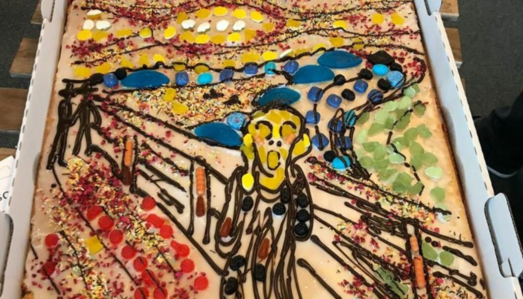 <strong>MUNCH-MOTIV:</strong> «Skrik» av norske Edvard Munch er et av verdens mest gjenkjennelige malerier. Her i kakeform. Foto: Rikke Guldager Østergaard