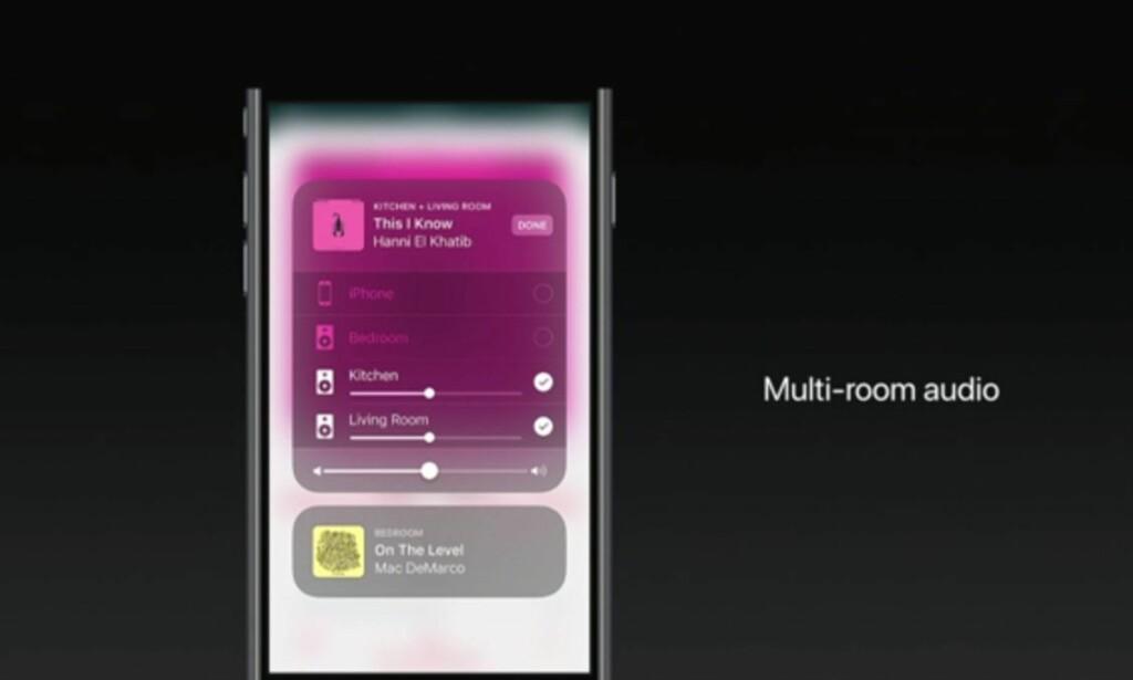 FLERE HØYTTALERE: Vil du spille musikken bare i stua, eller kanskje på badet og soverommet også? Med iOS 11 får Airplay støtte for synkronisert avspilling i flere rom. Skjermdump: Apple