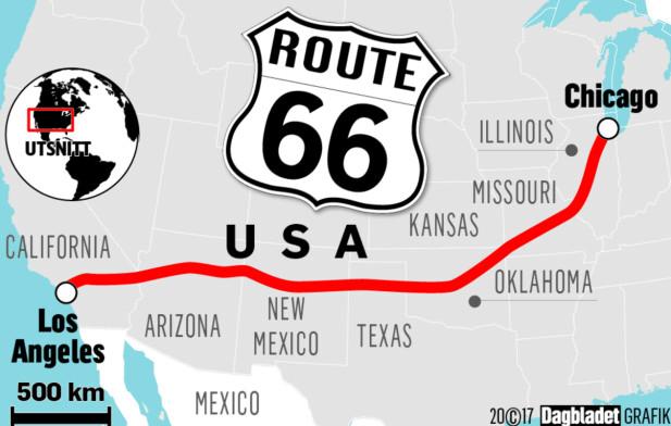image: Verdens heftigste roadtrip er over 90 år. Nå trenger Route 66 hjelp