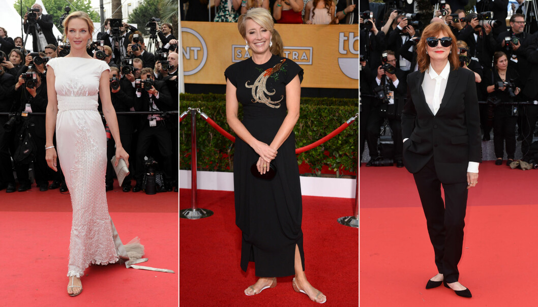 DROPPET HÆLER: Uma Thurman fikk gå på Cannes-løperen i sandaler i 2011, mens Emma Thompson gjorde det samme på SAG Awards 2014. Susan Sarandon valgte også flate sko på Cannes-festivalen i 2016. Foto: NTB scanpix