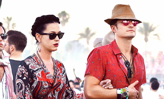 <strong>ANDREPLASS:</strong> Katy Perry og Orlando Bloom på Coachella. Foto: NTB Scanpix