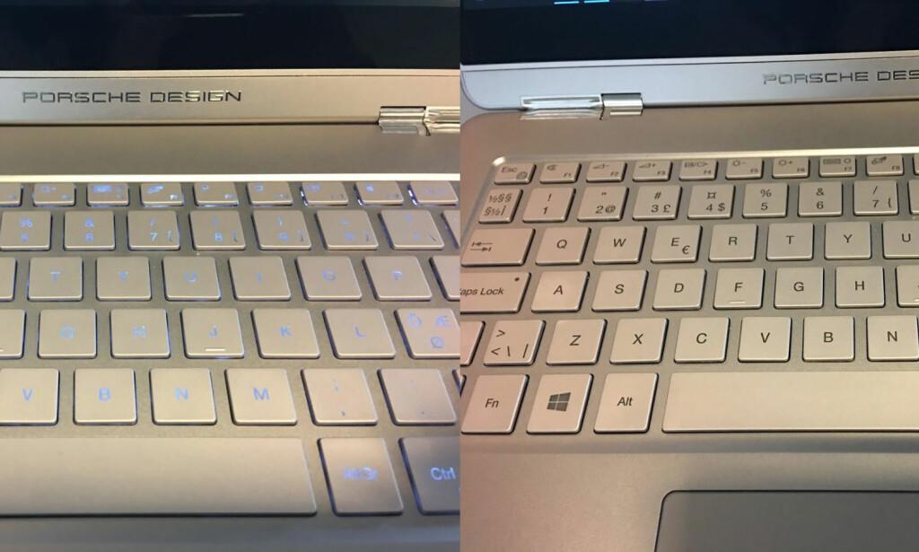 VANSKELIG LYS: Sjekk det blålige og ujevne lyset i tastene på bildet til venstre - og hvordan de samme tastene ser ut uten baklys. Foto: Bjørn Eirik Loftås