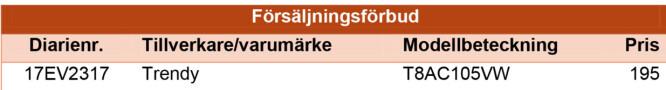 <strong>ILLUSTRASJON:</strong> Elsäkerhetsverkets granskningsrapport av USB-laddare – 2017.