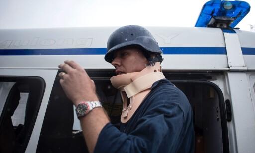 SKADD: Her ankommer Harvey sykehuset etter den skremmende opplevelsen. Foto: Noel Celis / AFP / NTB Scanpix