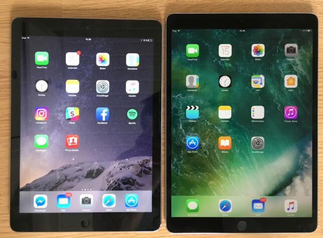 MER SKJERM: Gammel iPad med 9,7 tommer skjerm mot ny med 10,5 tommer. Legg merke til den vesentlig smalere rammen. Foto: Bjørn Eirik Loftås