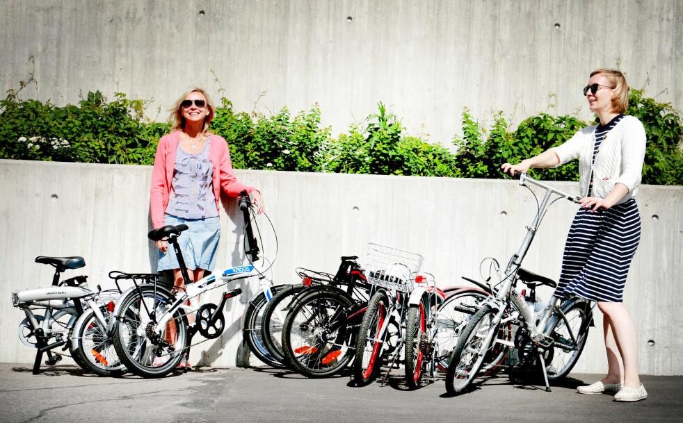 <strong>SAMMENLEGGBARE SYKLER:</strong> Vi har testet seks sammenleggbare sykler fra 1.590 kroner til 3.699 kroner. Det er store forskjeller både på hvor gode de er å sykle på - og hvor sammenleggbare de egentlig er ... Foto: Ole Petter Baugerød Stokke