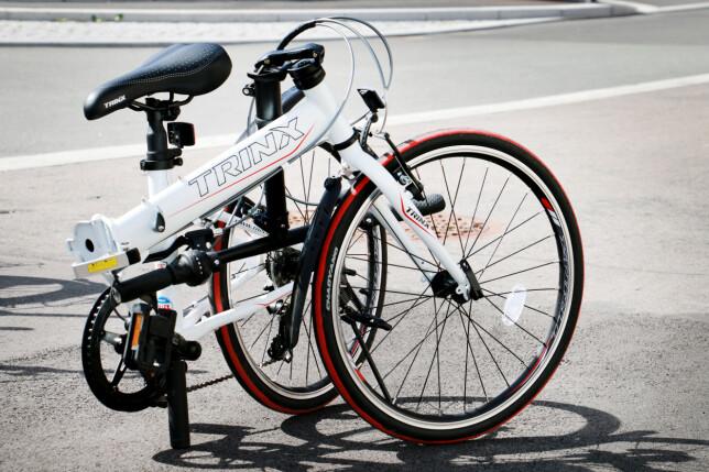 TRINX SAMMENLAGT: Hadde det ikke vært for det kjempeharde koblingspunktet på ramma, som gjør det veldig vrient å få satt opp sykkelen fra sammenlagt tilstand, hadde dette vært en 6-er på terningen. Foto: Ole Petter Baugerød Stokke