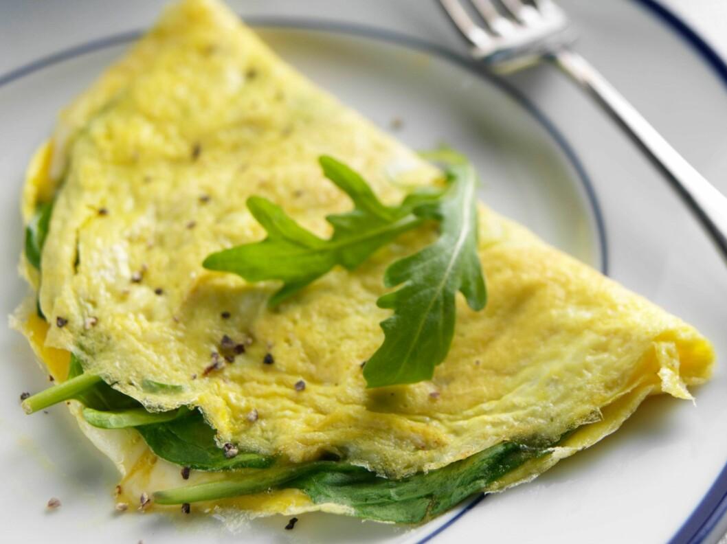 OMELETT UTEN KJØTT: Denne grønne omeletten er en perfekt kjapp vegetarmiddag. Foto: All Over Press