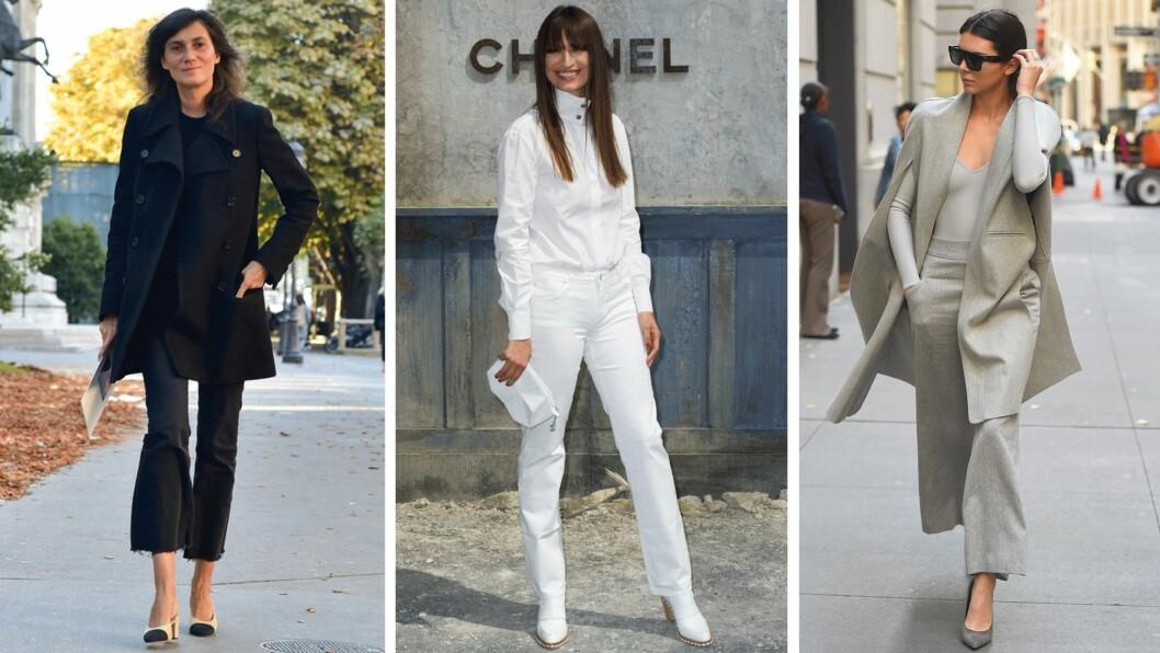 ENSFARGEDE ANTREKK: La deg inspirere av Vogue-redaktør Emmanuelle Alt, den franske streetstyle-favoritten Caroline de Maigret, og it-jenta Kendall Jenner. Alle tre har på seg ensfargede antrekk og vi elsker det! Foto: Scanpix