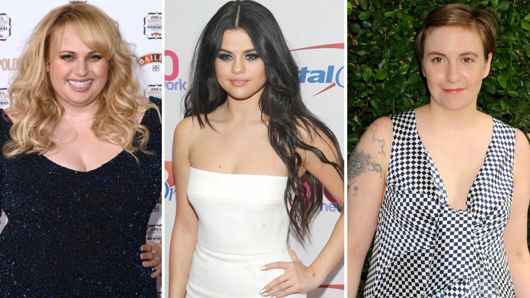 ELSKER SEG SELV: Rebel Wilson, Selena Gomez og Lena Dunham er blant Hollywoods mest selvsikre kvinner. Foto: Scanpix