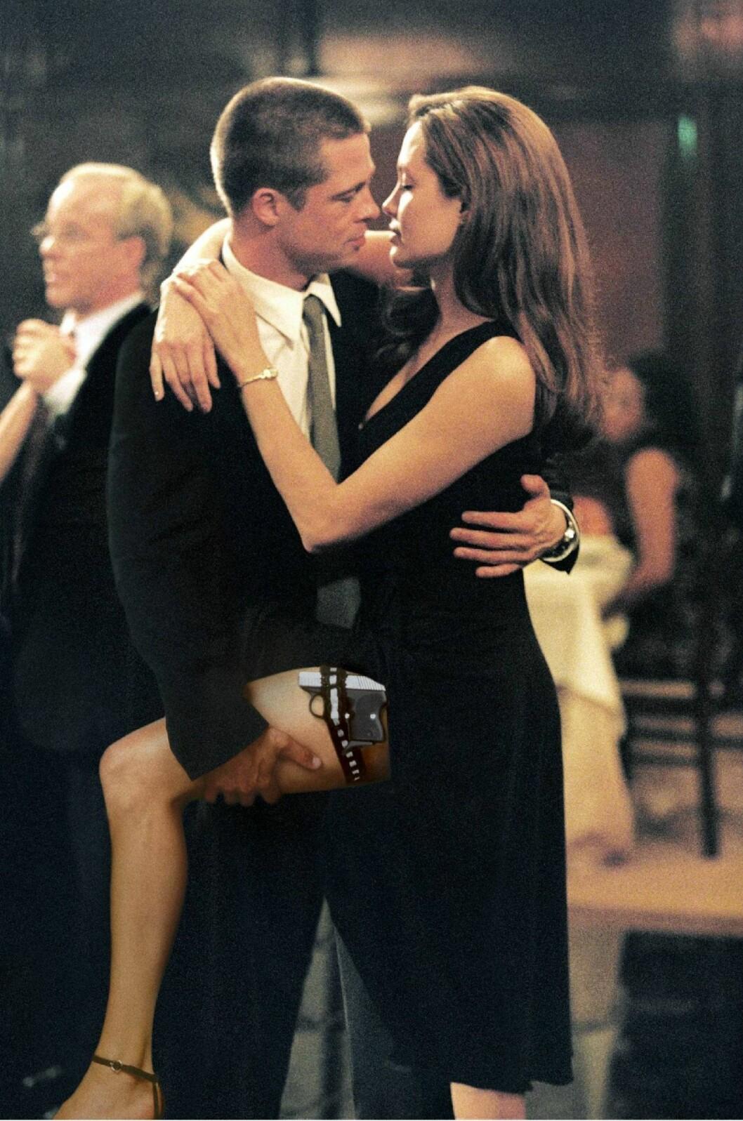 FILMEN SOM FORANDRET ALT: Hollywood-skuespillerne Brad Pitt og Angelina Jolie møttes for første gang da de spilte i filmen «Mr. and Mrs. Smith» i 2004. Filmen hadde premiere året etter. Pitt var på dette tidspunktet gift med Hollywood-skuespiller Jennifer Aniston. Skilsmissen var et faktum i januar 2005 - etter et år med romansespekulasjoner mellom Pitt og Jolie. I dag er de to gift, og har seks barn sammen. Foto: NTB Scanpix