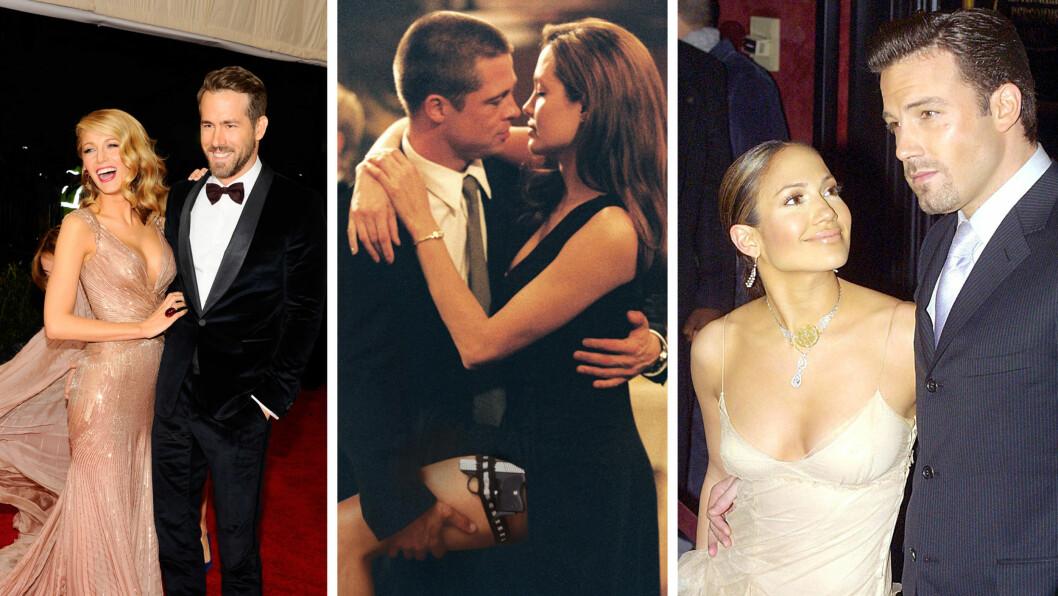 LOVE STORY: Hollywood-parene Blake Lively (28) og Ryan Reynolds (39), Brad Pitt (51) og Angelina Jolie (40) og Jennifer Lopez (46) og Ben Affleck (43) har alle spilt kjærester på film - og blitt kjærester i virkeligheten. Sistnevnte par gjorde det slutt i 2003, de to andre er fremdeles sammen. Foto: NTB Scanpix