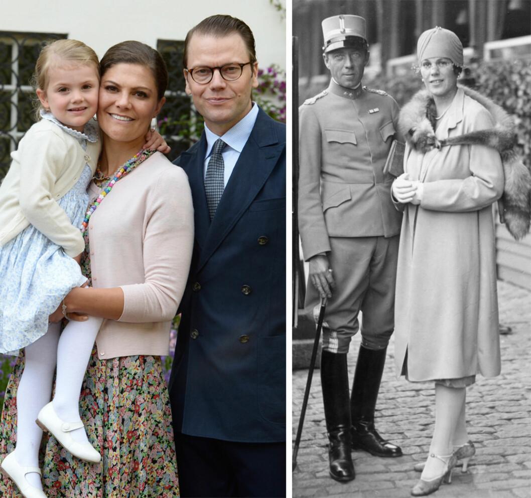 BERNADOTTE-SLEKTEN: Den svenske kongefamilien har et nært forhold til Bernadottene, og Estelle ble et naturlig navnevalg for deres kjære datter da hun ble født for tre år siden. Til høyre: Folke Bernadotte og hans kone Estelle.  Foto: NTB Scanpix