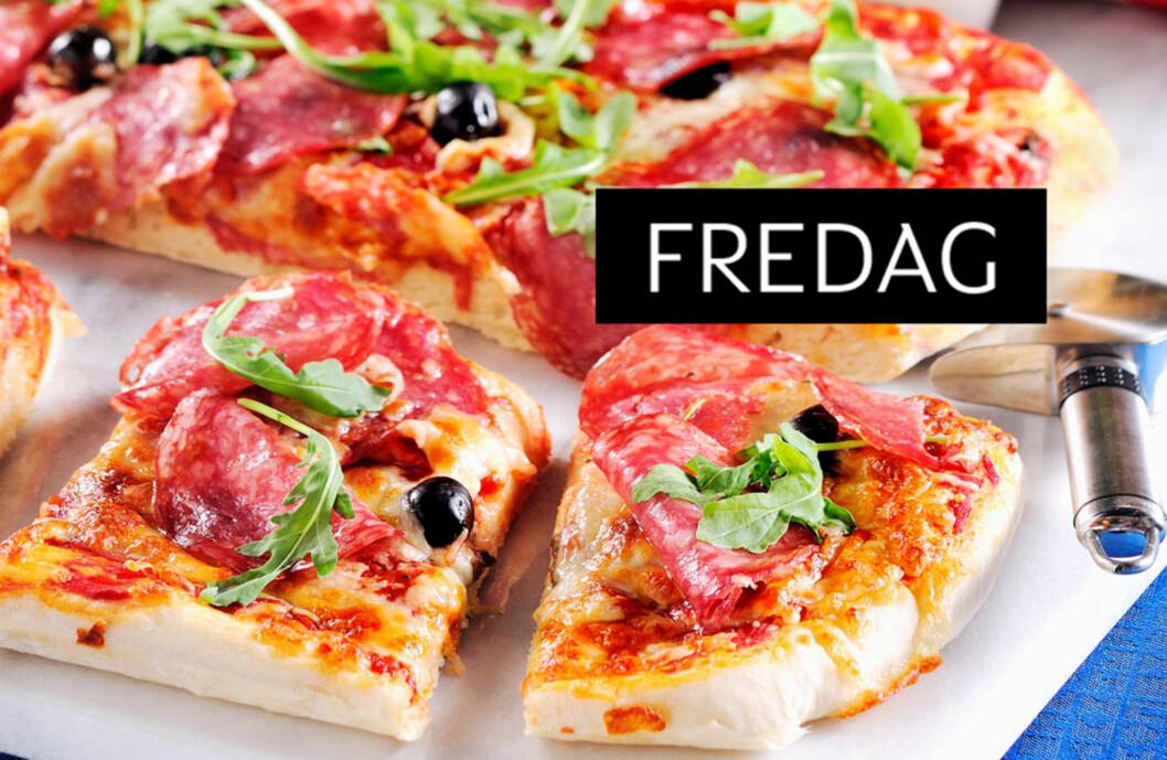 PANPIZZA: Herlig myk pizza med salami, mozzarella og rucola. Foto: Kent Jardhammar