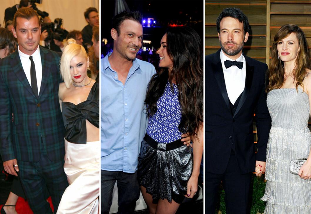 OVER OG UT: Både Gavin Rossdale og Gewn Stefani (t. v.), Brian Green og Megan Fox (i midten), og Ben Affleck og Jennifer Garner har gått fra hverandre i 2015.