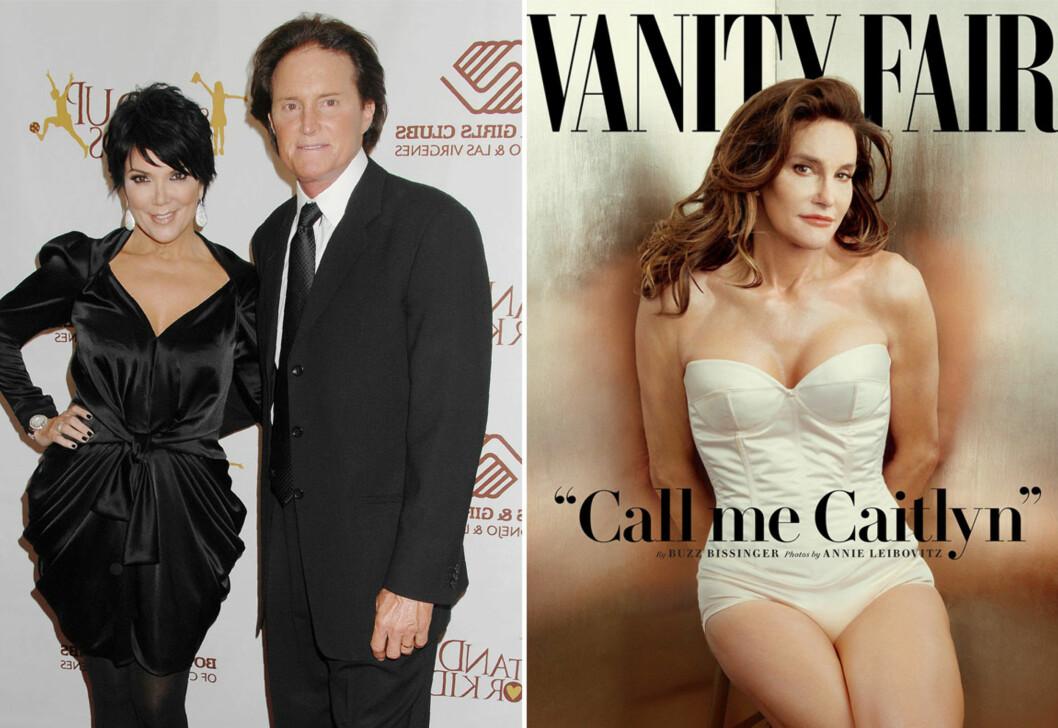 BLE SKILT: Bare et par måneder etter at bruddet mellom Kris og Bruce Jenner (i dag Caitlyn) ble kjent, begynte ryktene om sistnevntes kjønnsskifte å svirre. Foto: Scanpix