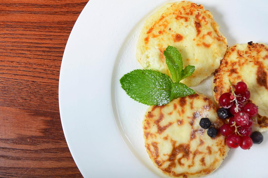 PANNEKAKER MED COTTAGE CHEESE: Hva med å lage pannekaker med cottage cheese til middag?  Foto: Vladimir Voronin - Fotolia
