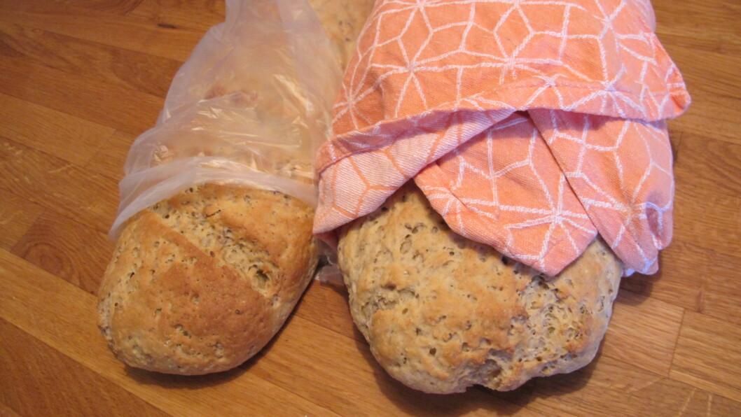 VELG RIKTIG TIL BRØDET: Plastpose eller kjøkkenhåndkle - hva pakker du brødet inn i? Foto: Stine Okkelmo