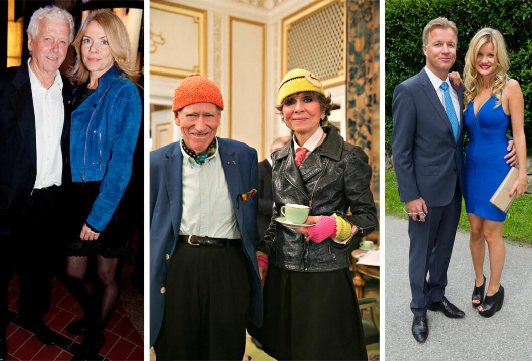 PAR: Skuespiller Toralv Maurstad (89) har vært gift med skuespillerkollega Beate Eriksen (55) siden 1999. 18 år skiller mangemilliardær Olav Thon (92) og samboeren Sissel Berdal Haga (74). Artist Sandra Lyng Haugen (28) var for fire år siden kjæreste med den norske eiendomsmogulen Torben Frantzen (43). De gjorde det slutt etter to år. Foto: NTB Scanpix