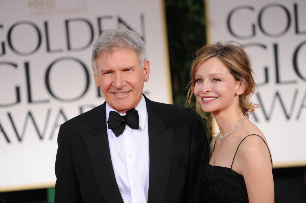 23 ÅRS FORSKJELL: Skuespiller paret Harrison Ford (73) og Calista Flockhart (51) begynte å date i 2002. De giftet seg i 2010. Foto: NTB Scanpix